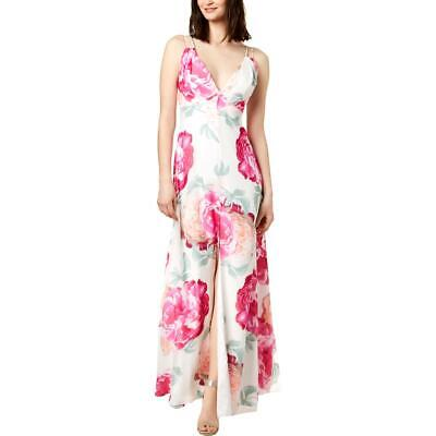 Calvin Klein Womens White V- Neck Strappy Formal Evening Dress Gown 6 BHFO 0477