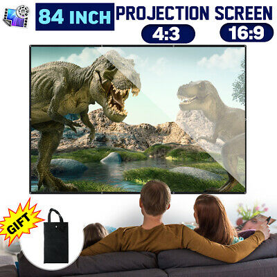 84'' Projector Screen HD 16:9/4:3 Portable Foldable Indoor/Outdoor Hanging Wall