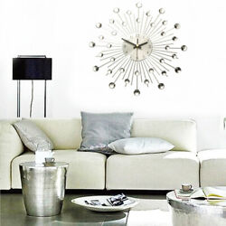 13'' Diamante Crystal Modern 3D Metal Wall Clock Round Home Rom Office Decor US