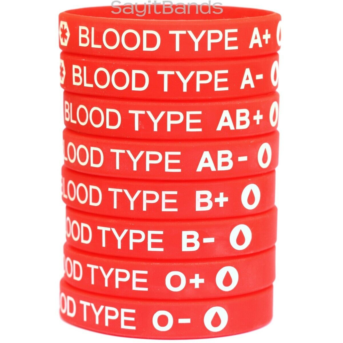 как выглядит 1 Blood Type Silicone Wristband Bracelet - Pick from A A- B B- AB AB- O O- фото