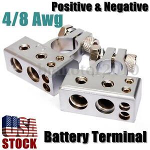 4/8 Gauge AWG Battery Terminal Connector Car Silver Positive Negative Heavy Duty