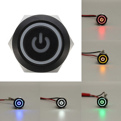 Black 5 Pin 19mm Led Metal Push Button Momentary Power Switch Waterproof 12v