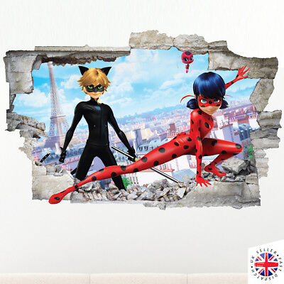 3D  LADYBUG MIRACULOUS Wall Sticker Decal Vinyl Art HOLE IN WALL A4