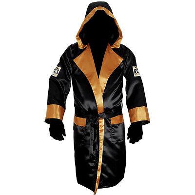 Cleto Reyes Satin Boxing Robe with Hood - Black/Gold