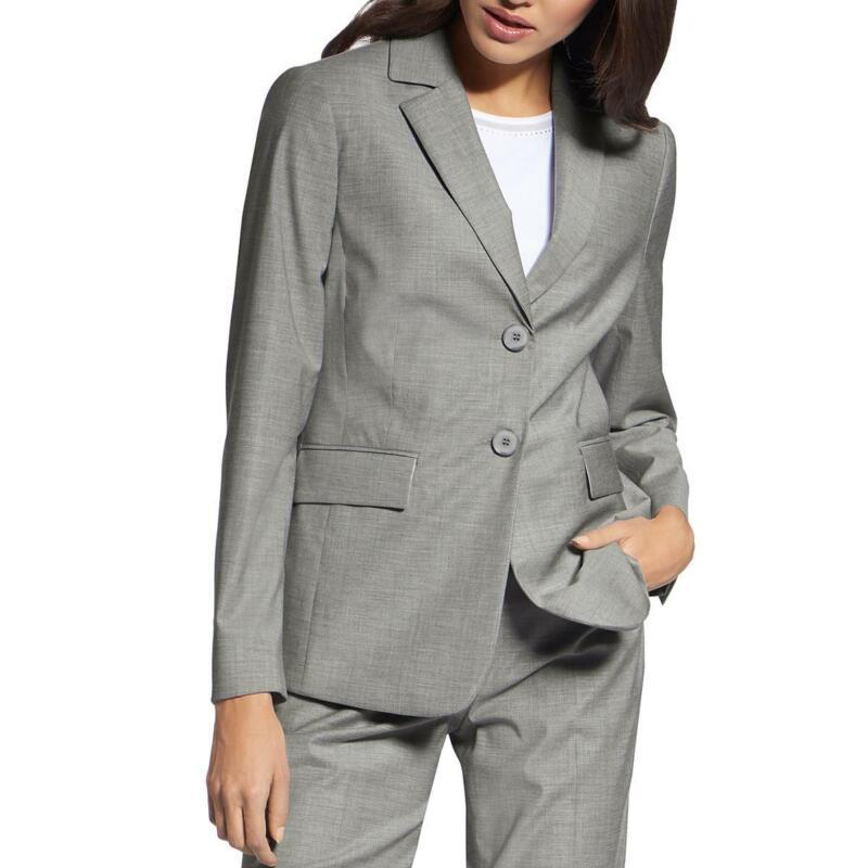 Basler Womens Gray Virgin Wool Mid-Length Two-Button Blazer Jacket 20 BHFO 1025