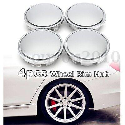 4x No Logo Universal Auto Car 65mm Wheel Center Rim Hub Caps Cover For VW Chrome