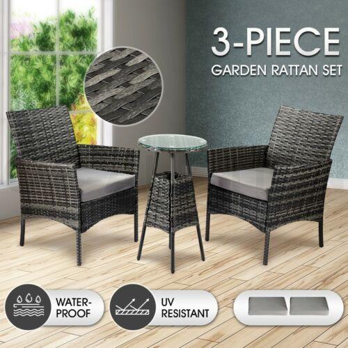 Garden Furniture - Outdoor Furniture Lounge Sofa Rattan Wicker Table Chairs Set 3 Pcs Patio Garden