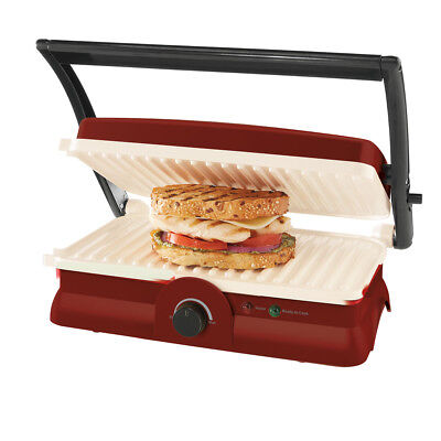 Oster DuraCeramic Panini Maker & Grill, Candy Apple Red CKSTPM20MR-ECO