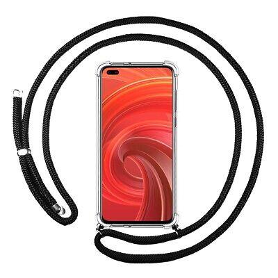 غطاء قلادة شفاف لـ Realme X50 Pro 5G بسلك أسود