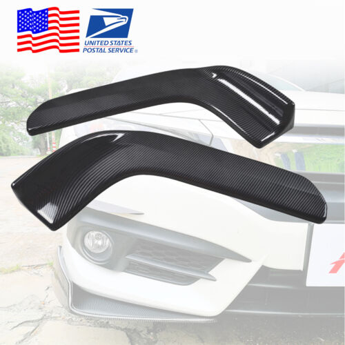 Pair Front Bumper Sides Extension Splitter Wing Lips ABS Carbon fiber