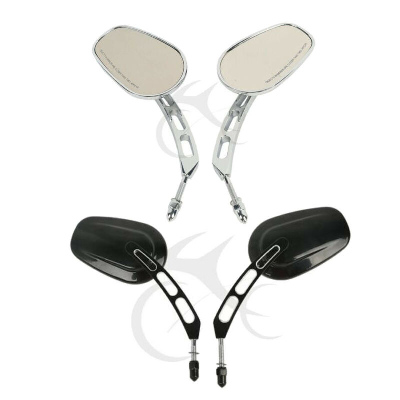 Rear View Mirrors Mount Adapter For Harley Softail Dyna Fat Bob Boy Black//Chrome