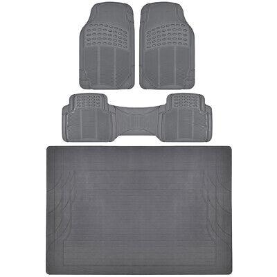4 PC Set Auto Floor Mats Car Truck SUV Gray Semi Custom Trimmable w/ Cargo Mat ()