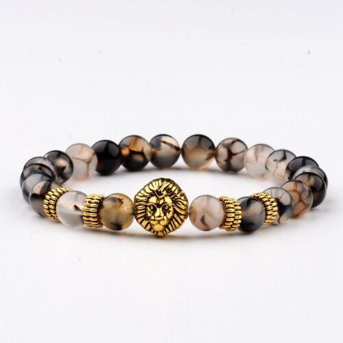Hommes Pierre Naturelle Lion Bouddha Perles Charme Fashion À faire soi-même Fait à la main Bracelets cadeau