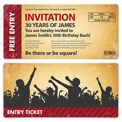 Personalised Birthday Ticket Invitations Invites Tear Off Cards Party / Vintage (E Birthday Invitations)