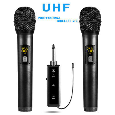 uhf wireless dual handheld microphone system lcd