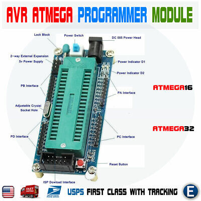 Avr Atmega16 Minimum System Development Board Atmega32 Programmer For Atmel Usa