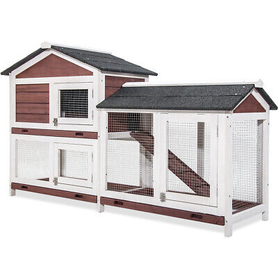 - Pet Rabbit Hutch Weather-proof Wood House Chicken Coop Animal Poultry Cottage US