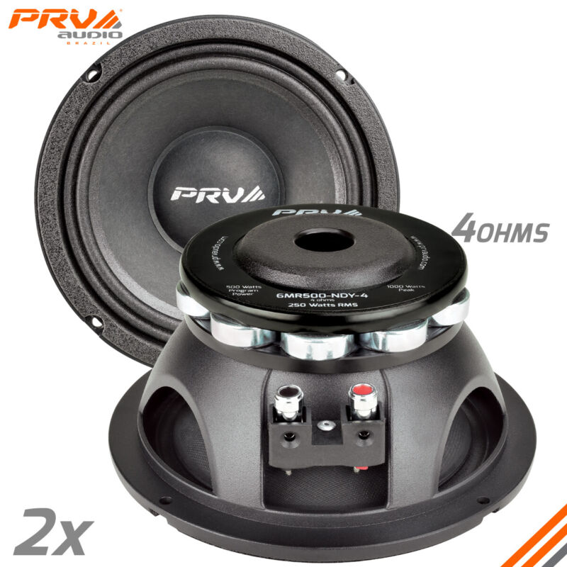 "2x PRV Audio 6MR500-NDY-4 Mid Range Neodymium 6.5"" Speaker 4 ohm 6 PRO Neo 1000W"