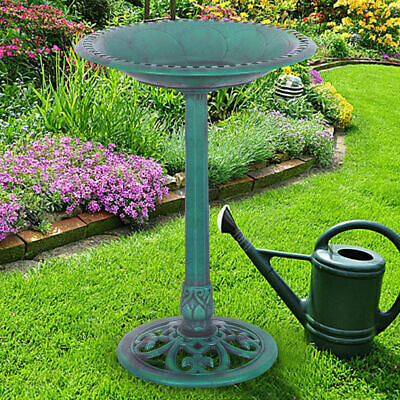 Green Pedestal Bird Bath Feeder Freestanding Outdoor Garden
