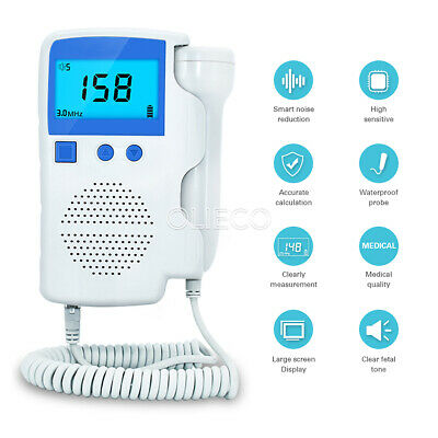 3.0mhz Lcd Fetal Doppler Detector Baby Heartbeat Monitor Ce Fda Usps