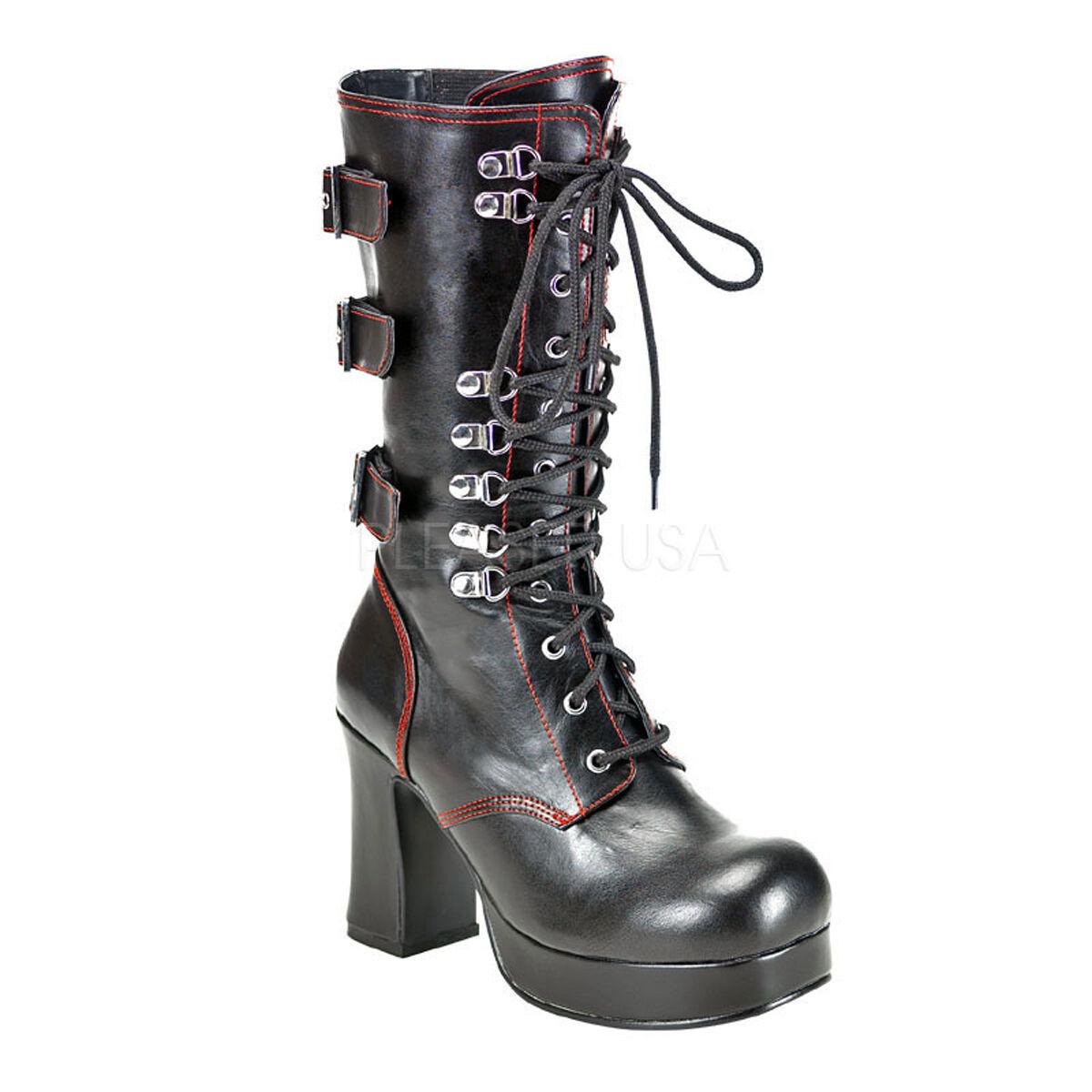 DEMONIA GOT101/B/PU Women's Black Gothic Platform Buckle Chunky Heel Calf Boots