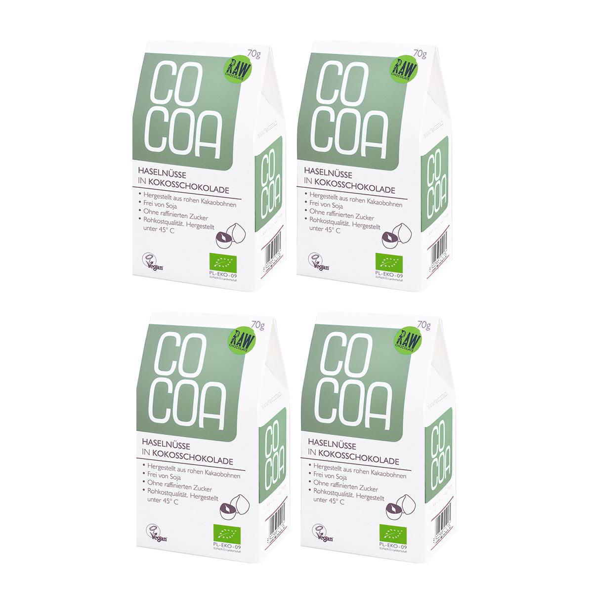 Raw Cocoa Bio Schokonüsse Haselnüsse in Kokosschokolade, 4 x 70 g, Ungeröstet