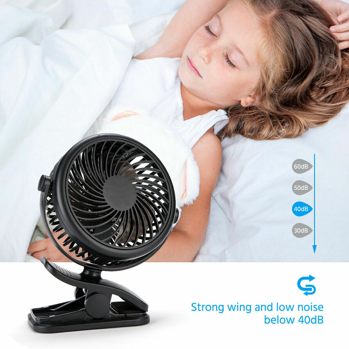 USB Rechargeable Mini Cooling Fan Clip Desk Baby Stroller Portable 4