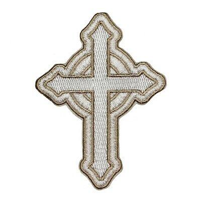 Catholic White Cross Patch Christian Faith Craft Embroidered Iron On - Faith Craft