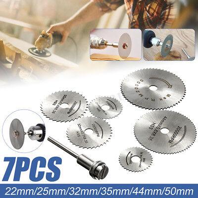 7PCS Cutting Wheel Discs Mandrel HSS Rotary Circular Saw Blades Tool Accessory - Cutting Wheel