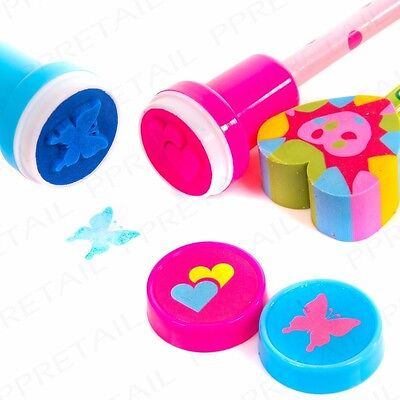 3 KIDS PENCILS STAMPS & ERASER SET School Stationary Party Bag Gift Art Fun Pack