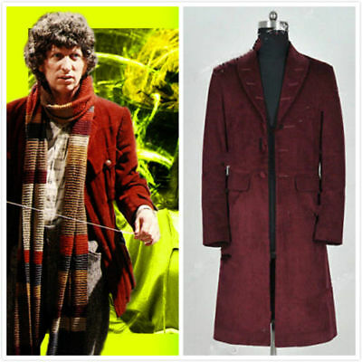 Doctor Who 4th Fourth Dr Tom Baker Cosplay Costumes Trench Coat Party  AA.106 - Costumes Doctor Who
