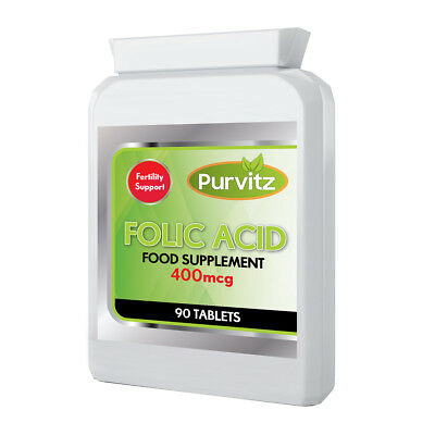 Folic Acid 400mcg One a Day Made In UK Pregnancy Aid 90 Tablets Purvitz  400 Mcg 90 Tablets