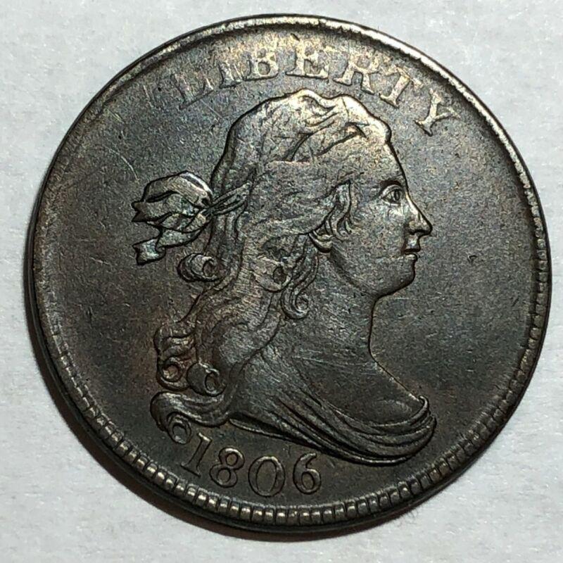 1806 Draped Bust copper U.S. half cent. XF-AU, light scuffiness. #q1