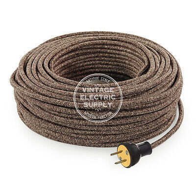 Brown Lamp Cord - Brown Linen Cordset - Cloth Covered Round Rewire Set - Antique Lamp & Fan Cord