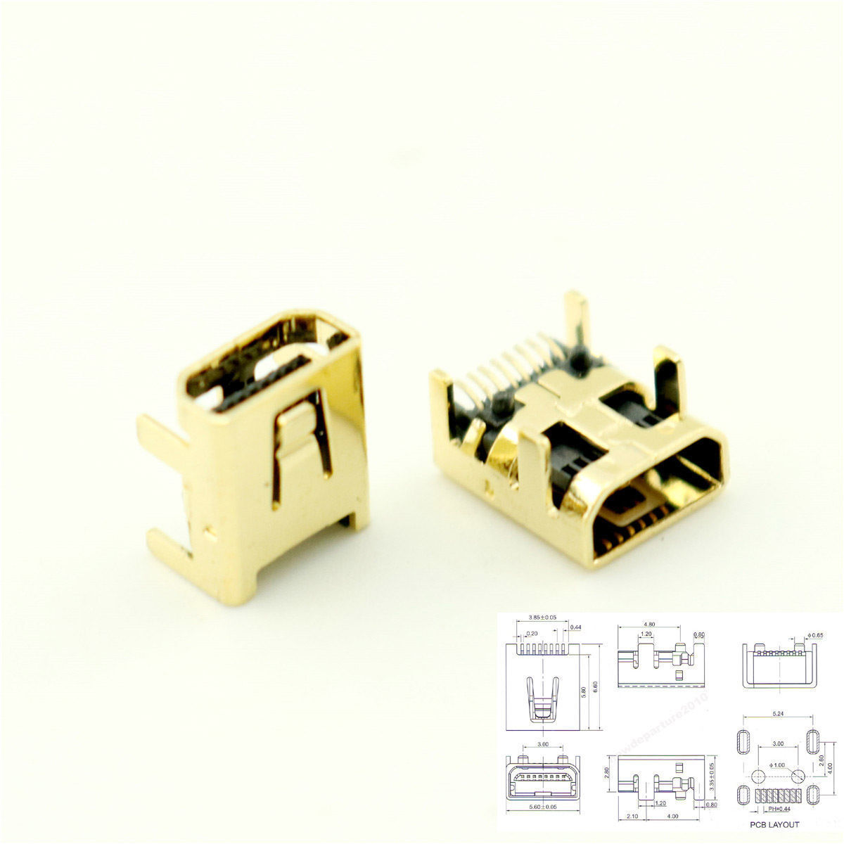 Details about 10Pcs Gold Plated Mini USB 8 Pin Female Jack PCB SMT Socket  Connector For DIY