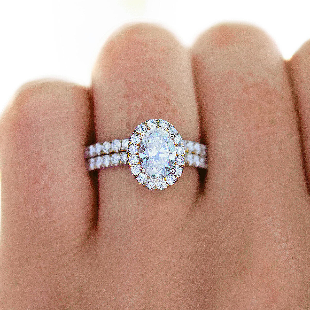 3.00 TCW Natural Oval Cut Halo Pave Diamond Engagement Wedding Set - GIA 1