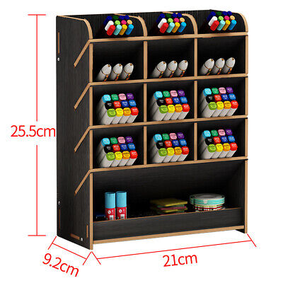 Wood Pen Box Desk Storage Desktop Brush Office Pencil Holder Organizer Container