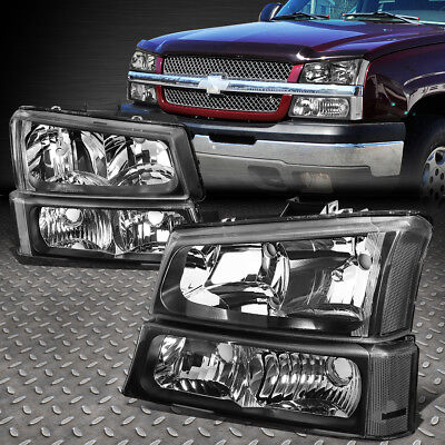 FOR 2003 2006 CHEVY SILVERADO BLACK HOUSING CLEAR SIDE HEADLIGHTLAMP SET 4PCS