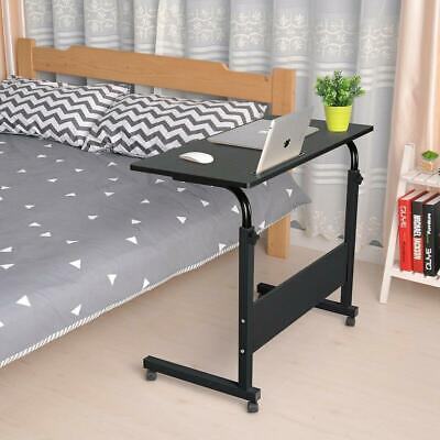 Portable Rolling Laptop Stand Desk Wood Laptop Tray Sofa Bed Table W Wheel
