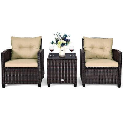 Garden Furniture - 3 PCS Patio Rattan Furniture Set Conversation Set Cushioned Sofa Garden Deck