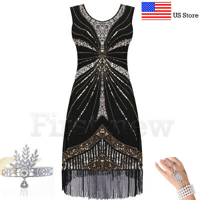 1920s Flapper Dress Vintage Great Gatsby Party Roaring 20s Sequin Fringe - Roaring 1920s Costumes