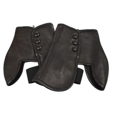 Authentic CHANEL CC Logos Leg Warmer Black Leather Accessory #S AK13543
