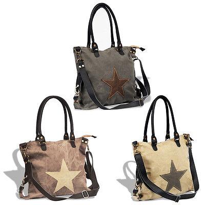 Stern Damen Tasche Echtleder Canvas Shopper Schultertasche Handtasche Vintage