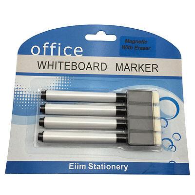 4 Black Magnet White Board Whiteboard Marker Pens Dry Erase Easy Wipe Eraser