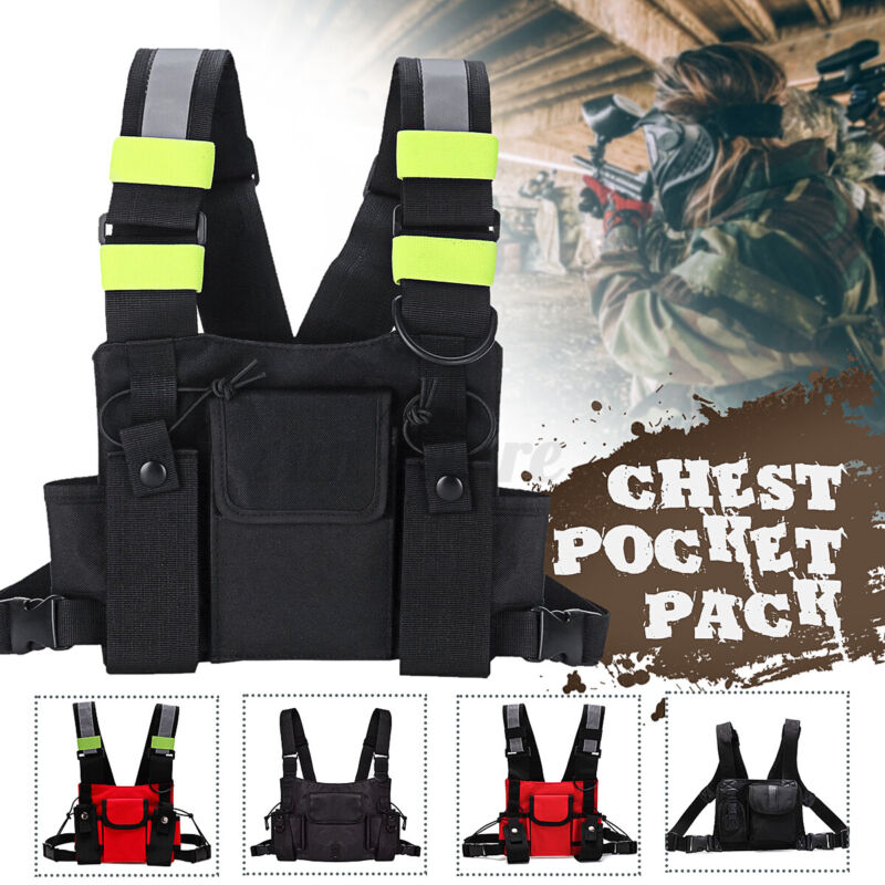 Nylon Radio Walkie Talkie Chest Bag Pockets Backpack Holster Vest Pack Pouch