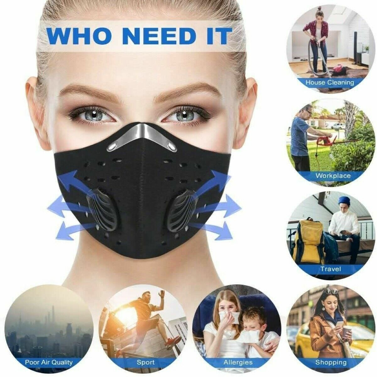 sports face mask outdoor w filter activated