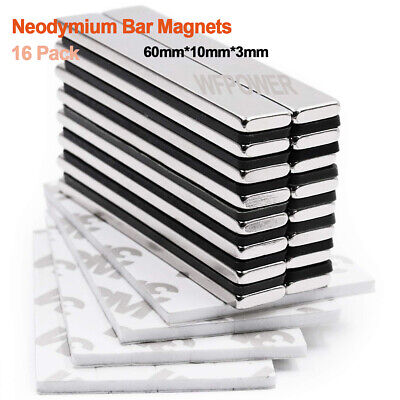 16pcs Strong Neodymium Rare Earth Bar Magnets With Adhesive Backing Powerful