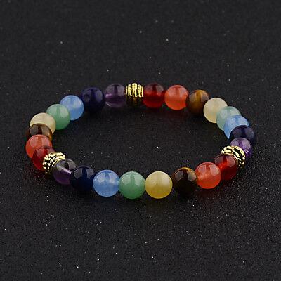 7 Chakra Healing Balance Beaded Bracelets Natural Stone Yoga Reiki Bangle Gift