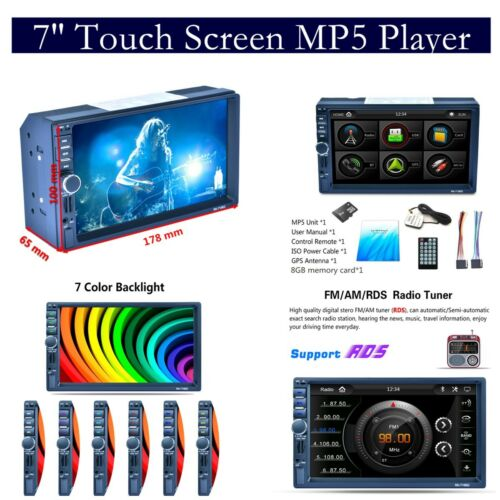 2-DIN 7 inch Touch Car Auto MP5 Player with GPS Bluetooth RDS Radio Stereo AUX