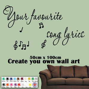 Create your own song lyrics wall art sticker decal mural for Create your own mural